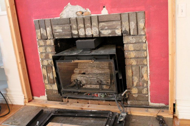 fireplace with red paint