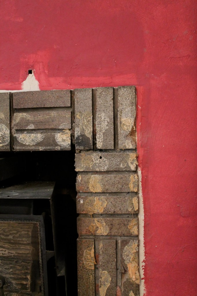 red fireplace close-up