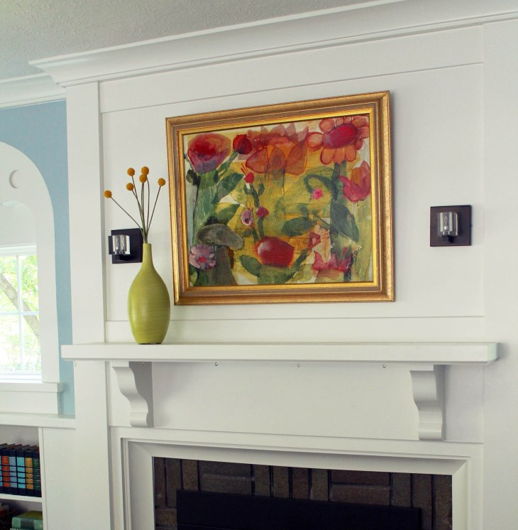 mixed-media over fireplace