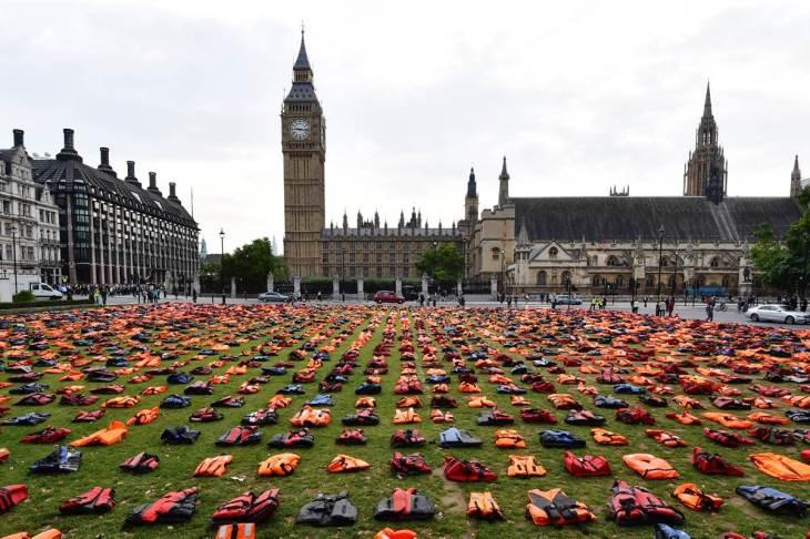 life-jacket graveyard—parliament square