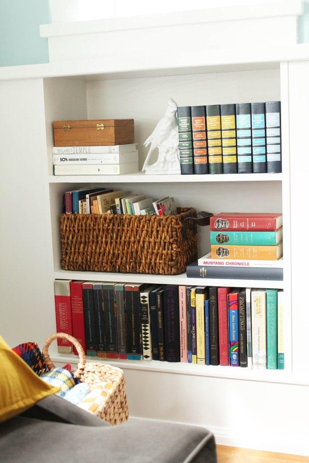 bookcase with basket
